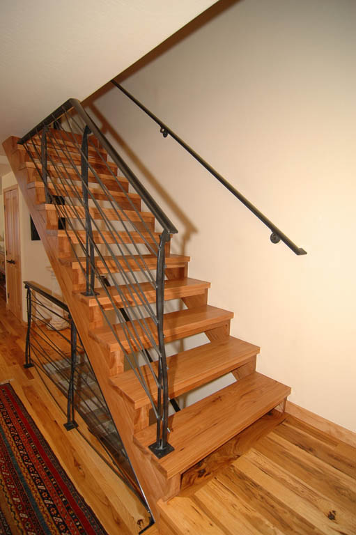 Superb Open Riser Staircase With Iron Railing In NorthTahoe